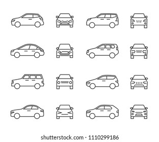 Cars front and side view line signs, auto symbols. Vehicle outline vector icons isolated on white background. Auto vehicle car, illustration of automobile transport