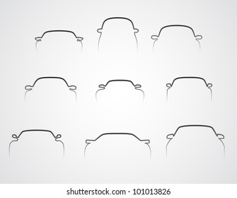 cars front silhouettes set