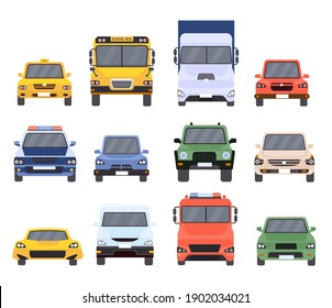 Cars front view. Flat urban vehicles taxi, police, delivery service, school bus, van, truck and sport vehicle. Cartoon car model vector set. Car taxi, urban automobile, motor sedan illustration