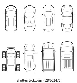 Cars icon set in thin line style, top view