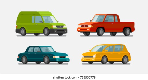 Cars, icons set. Transport, transportation, vehicle concept. Vector illustration