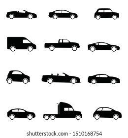 Cars icons set. Vector black illustration isolated on white background.