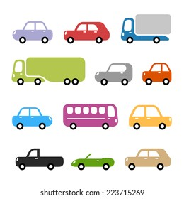 Cars illustration - different car types in simple rounded style