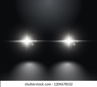Cars light effect. White glow car headlight bright beams ray isolated on black background.