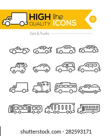 Cars line icons two