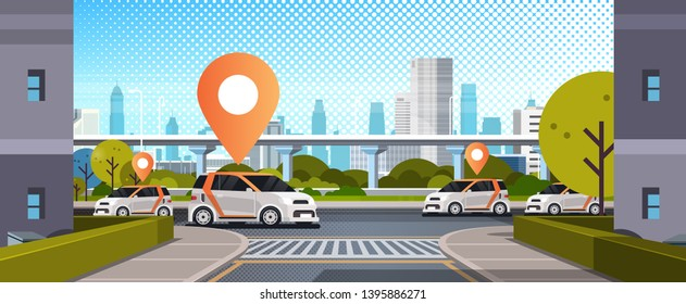 cars with location pin on road online ordering taxi car sharing concept mobile transportation carsharing service modern city street cityscape background flat horizontal