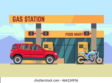 Cars and motorcycles at gas filling station flat vector illustration