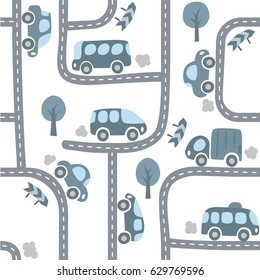 Cars on the road. Monochrome seamless pattern of small car, van, lorry, bus with trees and signs. Kids background. Children vector illustration