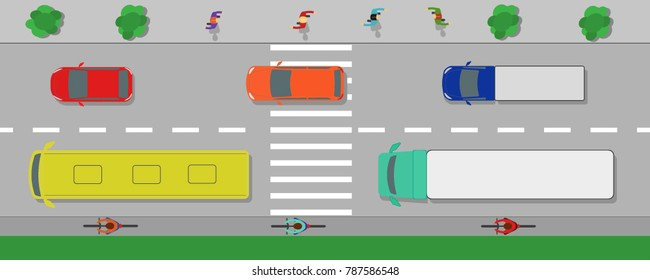 Cars on the road top view vector illustration