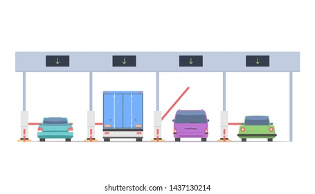Cars pass through the checkpoint with barriers on the toll road. Vector illustration isolated on white background