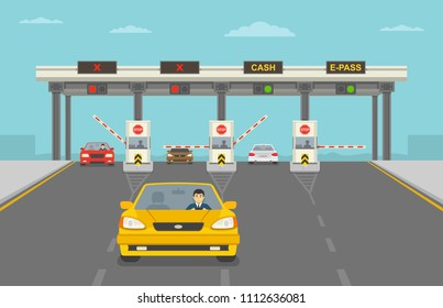 Cars passing through checkpoint to pay road toll at highway. Flat vector illustration.