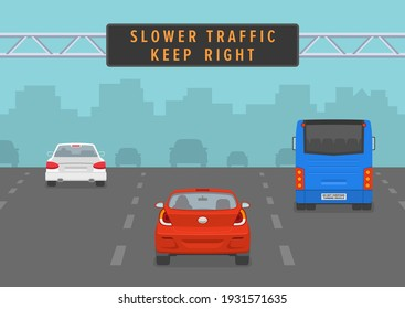 Cars passing through led sign at highway. Slower traffic keep right road rule. Back view. Flat vector illustration.