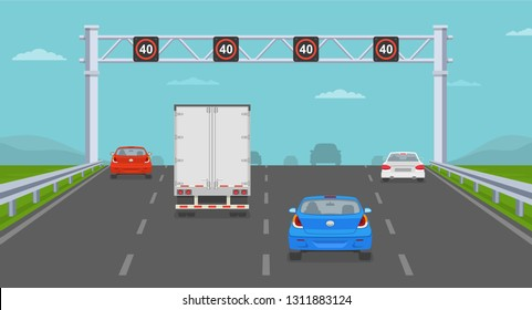Cars passing through speed limit sign at highway. Back view. Flat vector illustration.