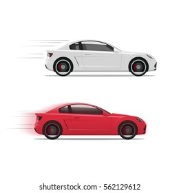 Cars racing fast vector illustration, flat auto moving on high speed with motion blur, race of two automobiles side view isolated on white background