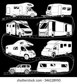 cars Recreational Vehicles Camper Vans Caravans Icons. Vector illustration. Motorhome on black background. Car trailer doodle objects. Camping transport.