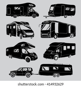 cars Recreational Vehicles Camper Vans Caravans Icons. Vector illustration. Motor home on grey background. Car transport. Logo design