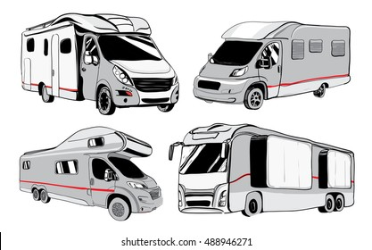 cars Recreational Vehicles Camper Vans Caravans Icons. Vector illustration. Motorhomes on white background. Car transport. Trailer object for camping design.