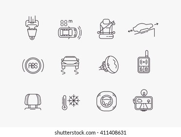Cars safety line icons set. Automobile items. Thin line art design.