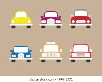 Cars sedan and compact icons set