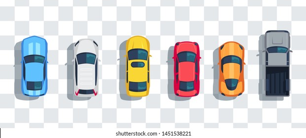 Cars set from above, top view isolated. Cute beautiful cartoon transport with shadows. Modern urban civilian vehicle. View from the bird's eye. Realistic car design. Flat style vector illustration.