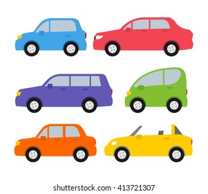 cars set in flat style side view isolated on white background