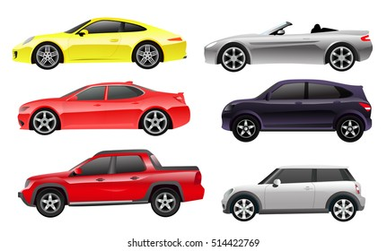 Cars Side View Colored Illustrations