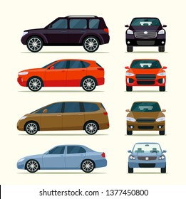 Cars side view and front view. Vector flat style illustration