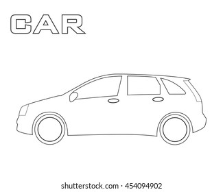 car side view black and white vector sketch simple drawing isolated Fiat Truck cars silhouette urban hatchback