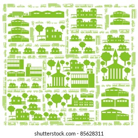 Cars, streets, trees and buildings - a green city color vector cartoon illustration set