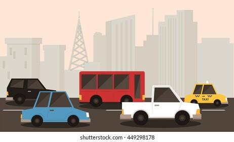 cars stuck in city traffic