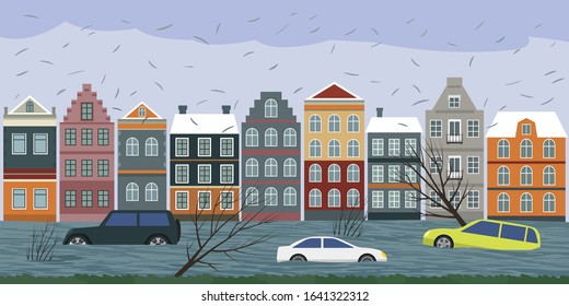 Cars submerged from a storm in Europe. Torrential rains from Hurricane Sabina and Ciara caused many flooded areas in cities. vector illustration