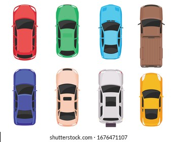 Cars top view isolated on white background. Vector cars icon set