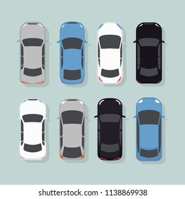 Cars top view vector flat city vehicle transport icons set.