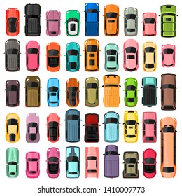 Cars top view vector illustration