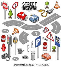 Cars and traffic collection, street segments for building a city map or a race track. Isometric vector set.