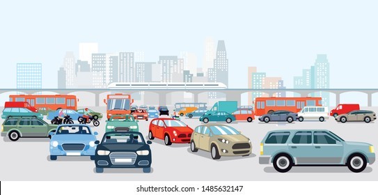 Cars in traffic jam at the intersection
