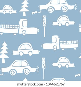 Cars and traffic seamless pattern endless repeating texture background / Vector illustration design for textile graphics, fashion fabrics, prints, wallpapers etc