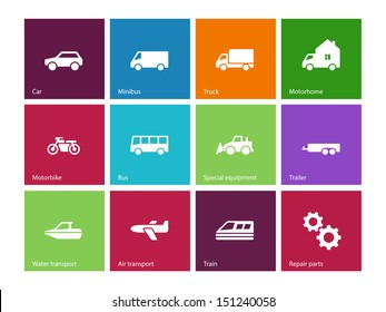 Cars and Transport icons on color background. Vector illustration.