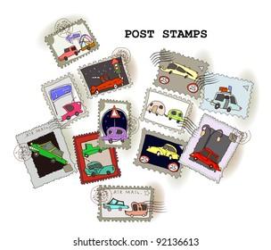 Cars, transport stamps set