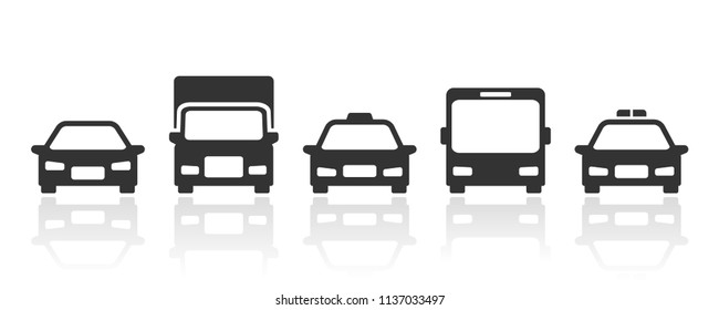 Cars transportation icons silhouette with reflection in front view