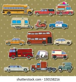 Cars and transportation sticker set, vector cartoon illustration