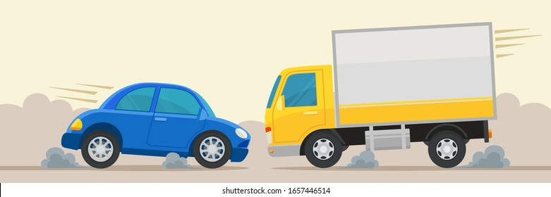 Cars and trucks emergency brake to prevent an accident, a collision with each other. Driving in the oncoming lane, dangerous overtaking, risky maneuver. Vector illustration, flat design cartoon style.