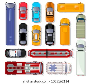 Cars and trucks top view isolated set. Commercial container truck, taxi cab, ambulance car, bus, freight lorry, tram, police car, fire engine, minibus, cabriolet, family hatchback vector illustration.