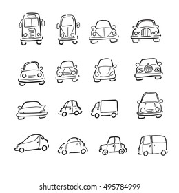 Cars trucks and vans cartoon drawing