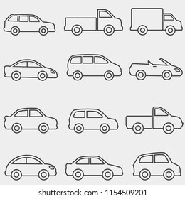 Cars, vans and trucks transportation web line icon set