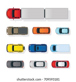 Cars Various Type Top or Above View Set, Colorful, Automobile and Transportation