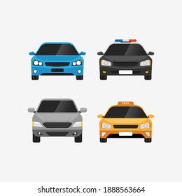 Cars vector set front view personal and public transport vector illustration
