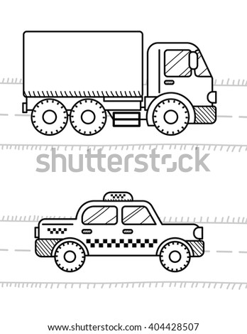 Cars Vehicles Coloring Book Kids Dump Stock Vector Royalty Free