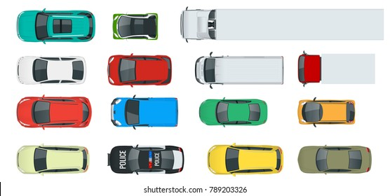 Cars view from above set. Vehicles driving in the city and service transport. Vector flat style illustration isolated on white background
