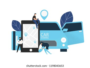Carsharing concept illustration of various people using mobile gadgets to rent a car via car sharing service.